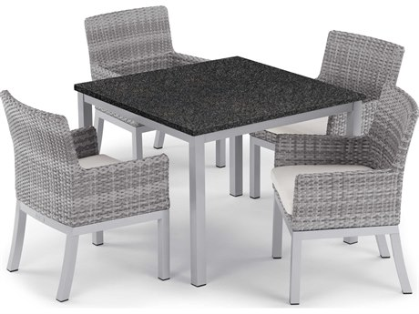 Oxford Garden Travira & Argento Aluminum Wicker Dining Set