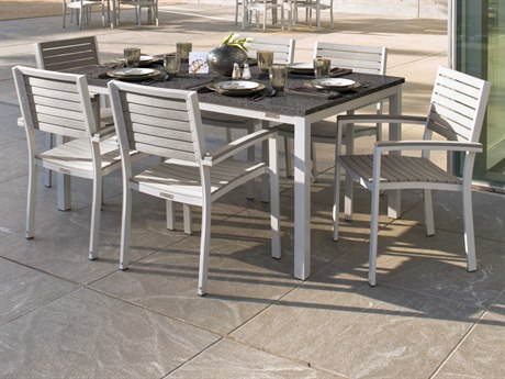 Oxford Garden Travira Aluminum Wicker Dining Set