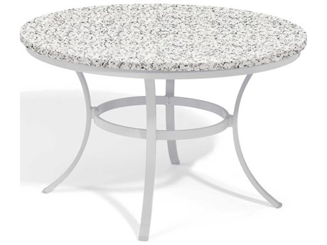 Oxford Garden Travira 47'' Wide Aluminum Round Umbrella Hole Dining Table