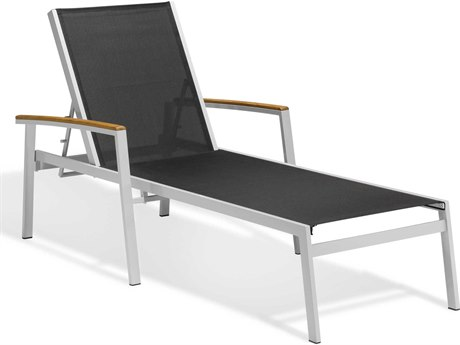 Oxford Garden Travira Aluminum Sling Chaise Lounge
