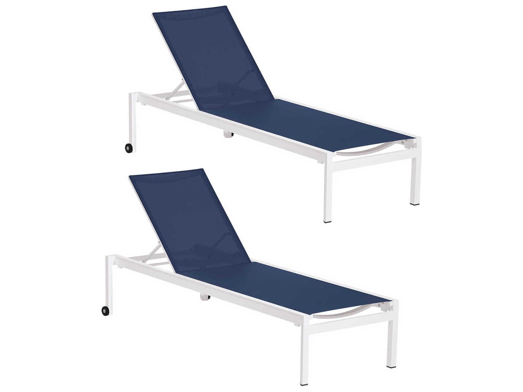 Oxford Garden Ven Chalk Aluminum Sling Chaise Lounge Set Of 2 Oxfvnblst101pcw2