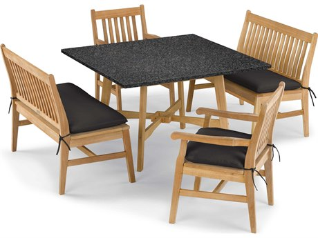 Oxford Garden Wexford Aluminum Wood Dining Set PatioLiving