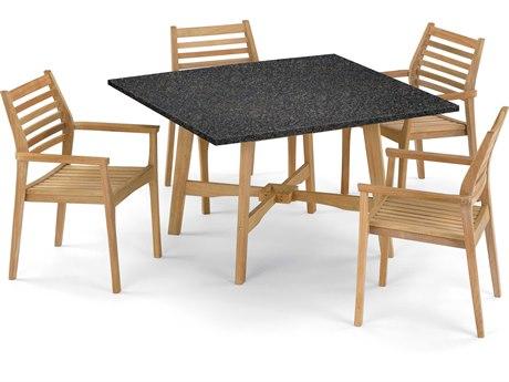 Oxford Garden Wexford & Mera Aluminum Wood Dining Set