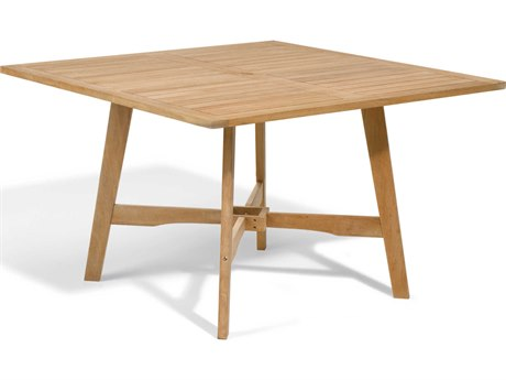 Oxford Garden Wexford 48'' Wide Wood Square Umbrella Hole Dining Table