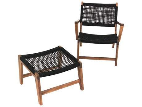 Patio Heaven Broad Rope Lounge Chair with Footrest