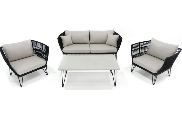 sc 1 st  LuxeDecor & Patio Heaven Broad 4 Piece Rope Seating Set | PABRDRSBLK