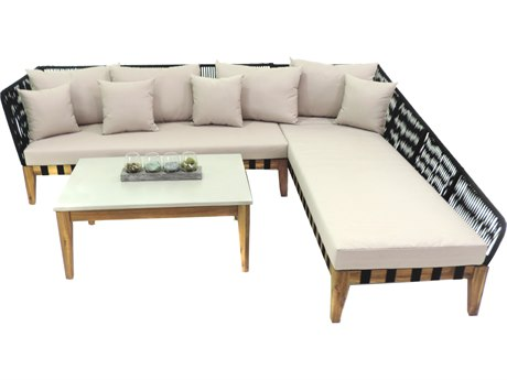 Patio Heaven Broad 3 Piece Sectional Set - White Finish