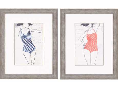 Paragon Sayilir Vintage Bathers II Exclusive Giclee Painting (Two-Piece Set)
