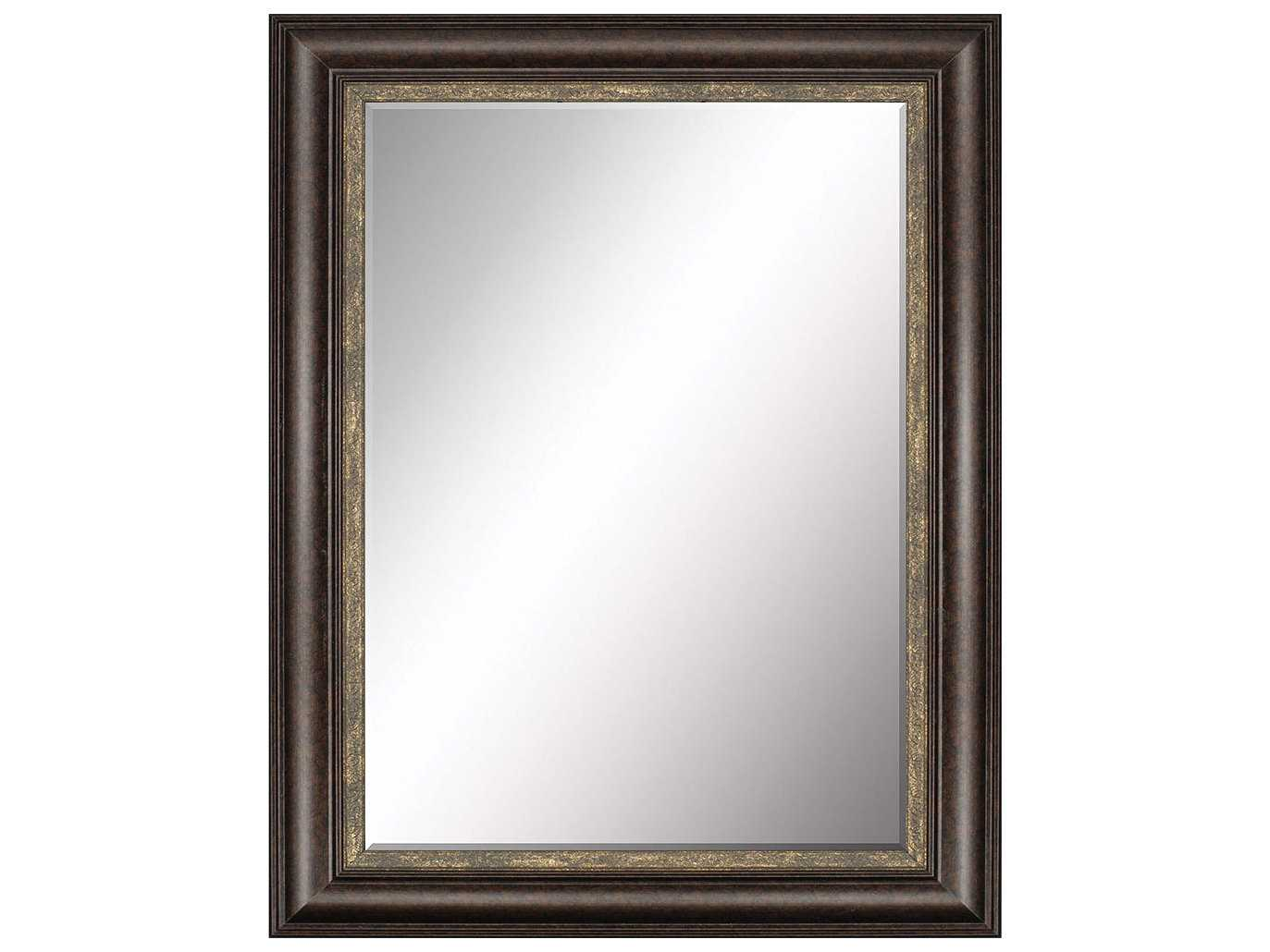 Paragon beveled 38 x 48 dark brown wood aged gold floor for Gold standing mirror