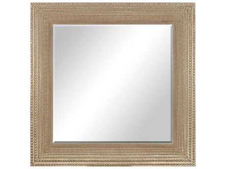 Paragon Beaded Washed Gold 44 x 44 Modern Wall Mirror