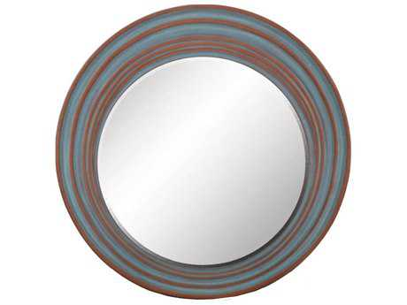Paragon Dusty Blue Round 33 x 33 Aged Blue Wall Mirror