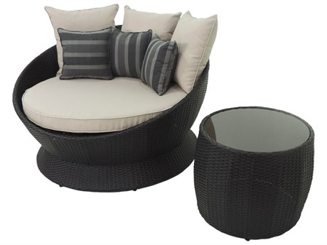 Patio Heaven Ethereal Barcelona Wicker 2Signature - PalisadesPiece Round Sofa Daybed and Side Table