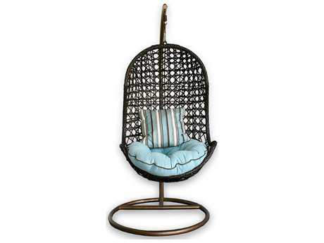 Patio Heaven Birds Nest Wicker Hanging Chair with Arms
