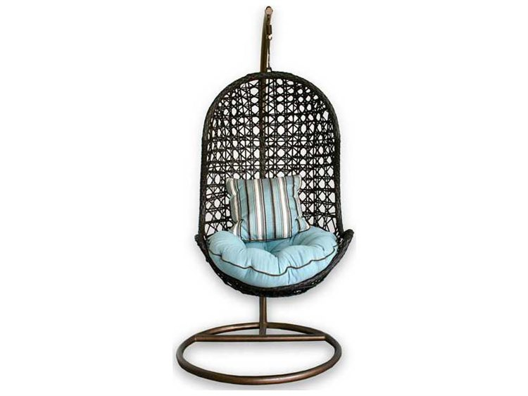 Patio heaven birds nest wicker hanging chair with arms for Patio heaven
