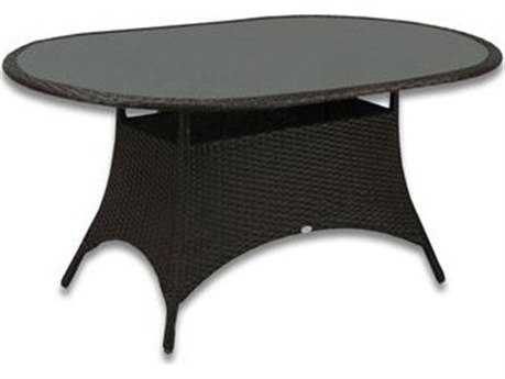 Patio Heaven Malibu Wicker 72 x 42 Oval Dining Table with Tempered Glass