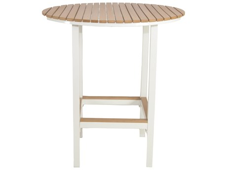Patio Heaven Riviera Round Bar Table White