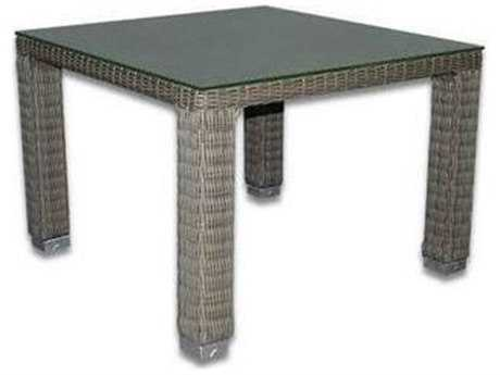 Patio Heaven Signature - Palisades Wicker 42 Square Dining Table with Tempered Glass Top