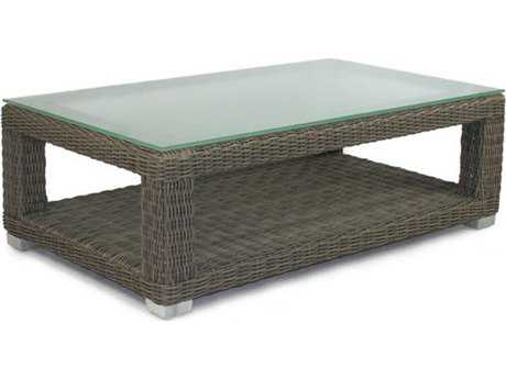 Patio Heaven Signature Wicker 48 x 28 Rectangular Coffee Table with Tempered Glass Top