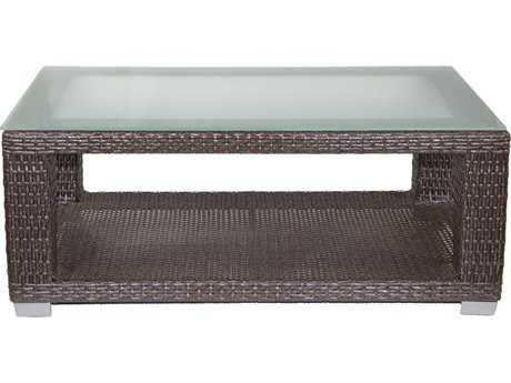 Patio Heaven PalisadesWicker 48 x 28 Rectangular Coffee Table with Tempered Glass Top