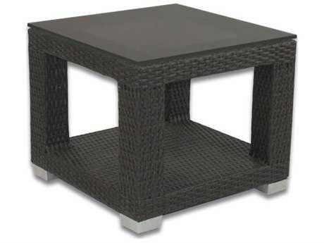 Patio Heaven Signature Wicker 24 Square End Table with Tempered Glass Top