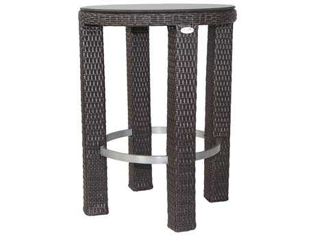 Patio Heaven Signature Wicker 30 Round Bar Height Table with Tempered Glass Top