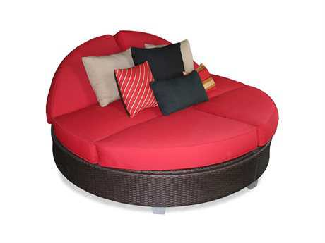 Patio Heaven Signature - Palisades Wicker Round Lounge Bed