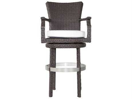 Patio Heaven Signature - Palisades Wicker Swivel Round Barstool with Arms
