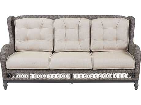 Paula Deen Outdoor Dogwood Wicker Sofa with Two Throw Pillows