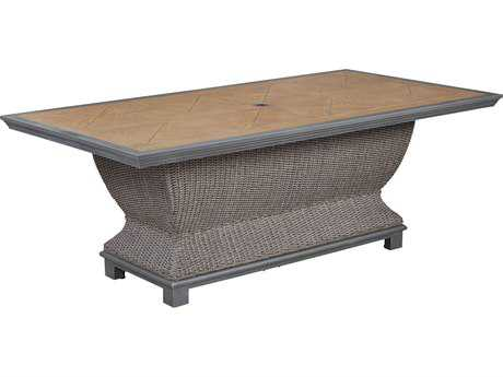 Paula Deen Outdoor Dogwood 84 x 41.93 Aluminum Rectangular Dining Table with Umbrella Hole