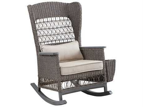 Paula Deen Outdoor Dogwood Wicker Rocker Chair with Lumbar Pillow