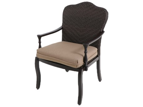 Paula Deen Outdoor Bungalow Tobacco Wicker Dining Arm Chair in Sailcloth Sisal Fabric