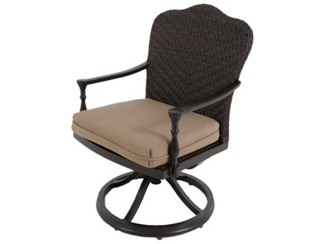 Paula Deen Outdoor Bungalow Tobacco Wicker Swivel Dining Chair in Sailcloth Sisal Fabric