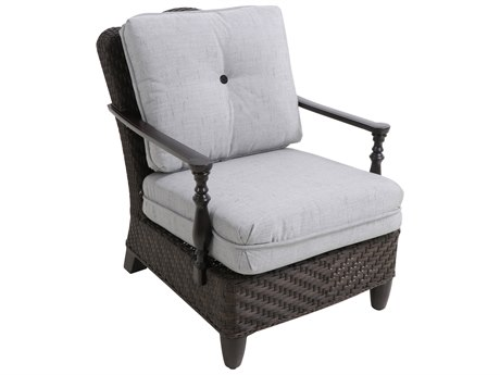 Paula Deen Outdoor Bungalow Tobacco Wicker Lounge Chair in Frequency Ash Fabric