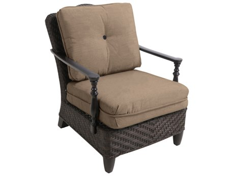 Paula Deen Outdoor Bungalow Tobacco Wicker Lounge Chair in Sailcloth Sisal Fabric