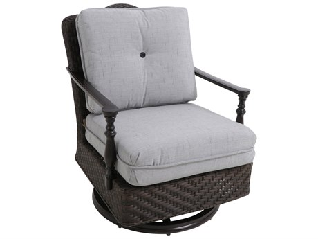 Paula Deen Outdoor Bungalow Tobacco Wicker Swivel Lounge Chair in Frequency Ash Fabric
