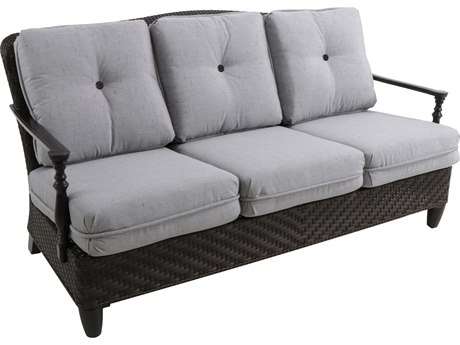 Paula Deen Outdoor Bungalow Tobacco Wicker Sofa in Frequency Ash Fabric