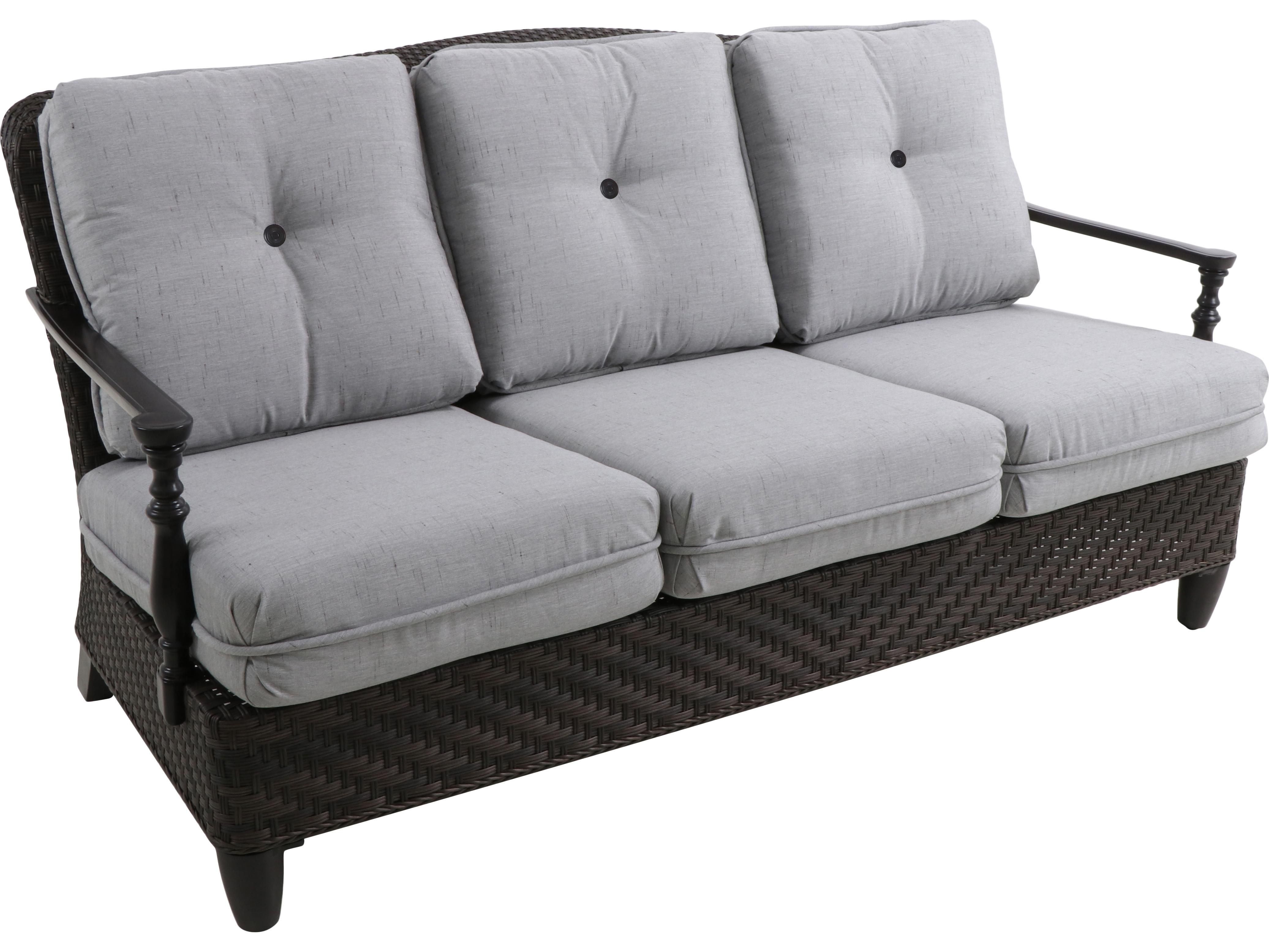 Paula Deen Outdoor Bungalow Tobacco Wicker Sofa In Frequency Ash Fabric
