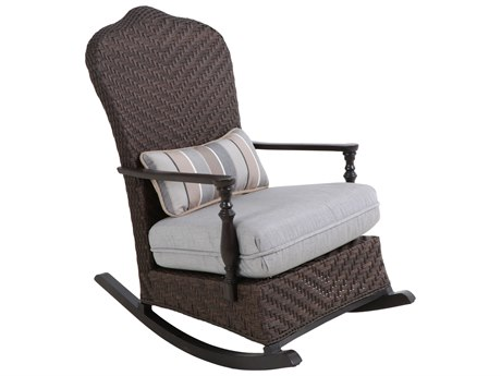 Paula Deen Outdoor Bungalow Tobacco Wicker Rocker Chair in Frequency Ash Fabric
