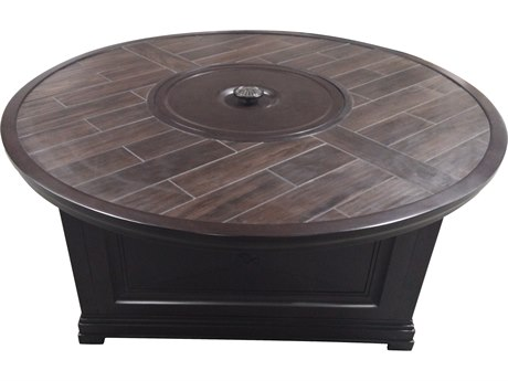 Paula Deen Outdoor Bungalow Tobacco Aluminum 54 Round Fire Pit Table