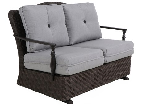 Paula Deen Outdoor Bungalow Tobacco Wicker Loveseat Glider in Frequency Ash Fabric