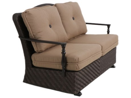Paula Deen Outdoor Bungalow Tobacco Wicker Loveseat Glider in Sailcloth Sisal Fabric
