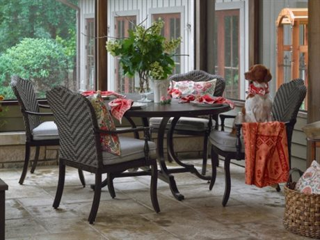 Paula Deen Outdoor Bungalow Tobacco Wicker Dining Set in Frequency Ash