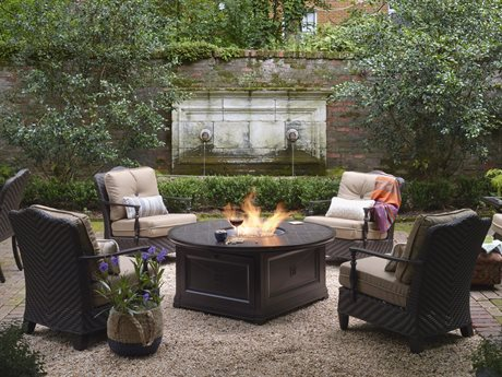 Paula Deen Outdoor Bungalow Tobacco Wicker Fire Pit Set in Sailcloth Sisal PDOBUNGALOWLNGSET