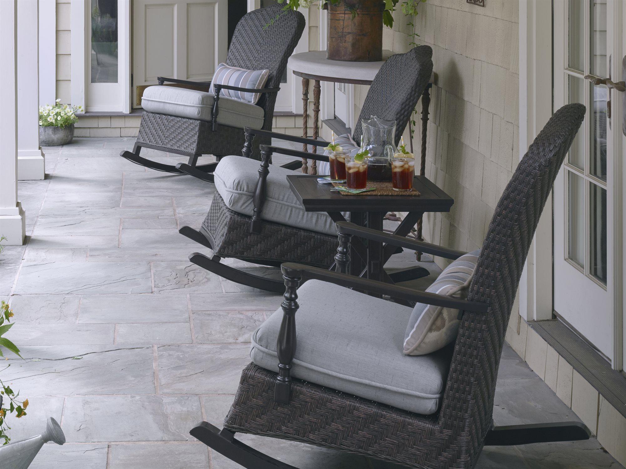 Paula Deen Outdoor Bungalow Tobacco Wicker Rocker Chair In