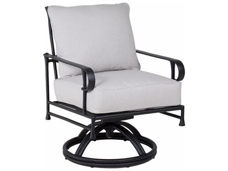Castelle Bordeaux Cushion Cast Aluminum Swivel Rocker Dining Chair