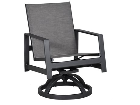 Castelle Prism Sling Aluminum Swivel Rocker Dining Chair
