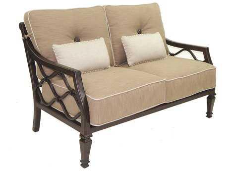 Castelle Villa Bianca Cushion Cast Aluminum Loveseat with Two Kidney Pillows