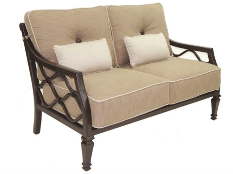 Castelle Villa Bianca Deep Seating Cast Aluminum Loveseat with Two Kidney Pillows
