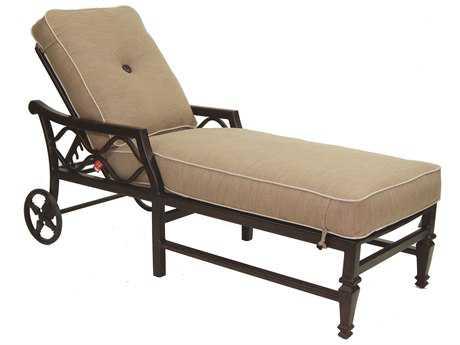 Castelle Villa Bianca Cushion Cast Aluminum Adjustable Chaise Lounge with Wheels