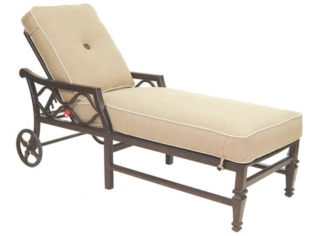 Castelle Villa Bianca Cushion Cast Aluminum Adjustable Chaise Lounge with Wheels